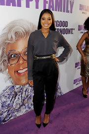 Keke Palmer played with spring's menswear trend in these high-waist pleated pants at the premiere of 'Madea's Big Happy Family.'