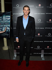Matt Nordgren looked modern and hip in this black suit paired over a light blue button down.