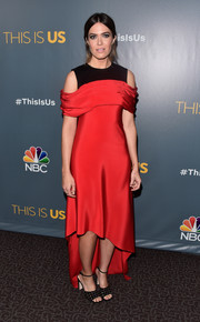 Mandy Moore opted for a modern red ADEAM dress with a contrast yoke and a high-low hem when she attended the finale screening of 'This Is Us.'