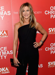 Jennifer Aniston dressed up her black jumpsuit with some diamond bracelets by Fred Leighton for the screening of 'Office Christmas Party.'