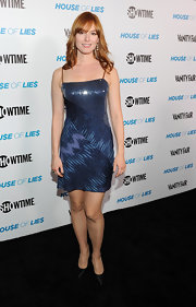 Alicia Witt wore a blue sequined cocktail dress with her black pumps to the 'House of Lies' premiere.