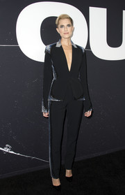 Allison Williams looked sharp in a black Mugler suit with reptilian-effect sequin sides at the screening of 'Get Out.'