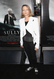 Jodie Foster teamed a white moto jacket with a dotted top and black pants for the screening of 'Sully.'