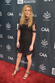 Ellie Goulding was classic in an embroidered LBD with a sheer yoke and sleeves at the Haiti Takes Root benefit.