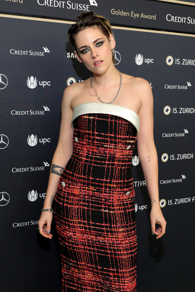 Kristen Stewart's eye tattoo was in full view when she wore this strapless dress to the Zurich Film Festival premiere of 'Seberg.'