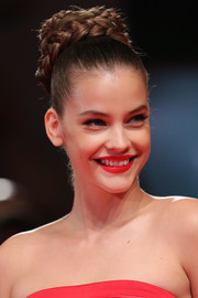 Barbara Palvin went boho-glam with this voluminous braided bun at the Venice Film Festival screening of 'Seberg.'
