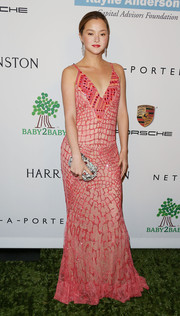 Devon Aoki went for exotic sophistication with this beaded pink evening dress at the Baby2Baby Gala.