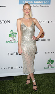 Jaime King looked all shimmery and glam in a beaded silver slip dress by Jason Wu at the Baby2Baby Gala.