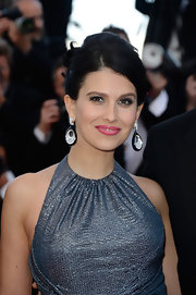 Hilaria Baldwin kept her dark hair pulled back into this lovely pinned updo.