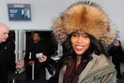 June Ambrose channeled winter as she wore a brown fur hat at the Day 2 of Fall 2011 Mercedez-Benz Fashion Week.