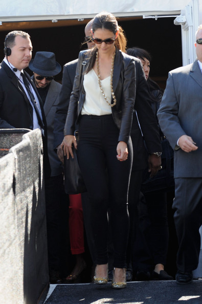 More Pics of Katie Holmes Leather Jacket (1 of 37) - Outerwear Lookbook - StyleBistro