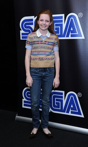 Clare Foley kept it laid-back in jeans and a knit vest at the Sega Go Dance unveil party.