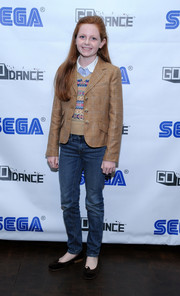 Clare Foley topped off her ensemble with a patterned jacket for a preppy touch at the Sega Go Dance unveil party.