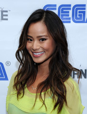 Jamie Chung looked very feminine at the Sega Go Dance unveil party with her billowy hairstyle.