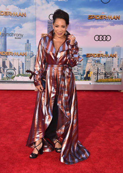 Selenis Leyva Printed Coat [spider-man: homecoming - arrivals,spider-man: homecoming,red carpet,carpet,clothing,flooring,premiere,dress,selenis leyva,california,hollywood,tcl chinese theatre,columbia pictures,premiere,premiere]
