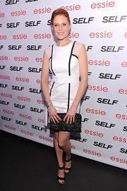 Christiane Seidel chose a white shift dress with black, structured piping.