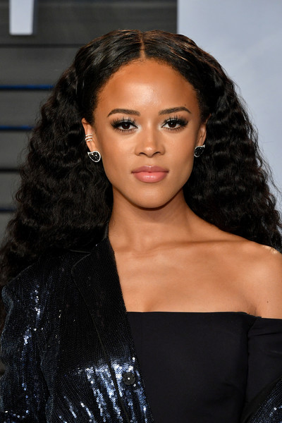 Serayah Long Curls [oscar party,vanity fair,hair,hairstyle,eyebrow,black hair,lip,long hair,beauty,ringlet,shoulder,forehead,wallis annenberg center for the performing arts,beverly hills,california,radhika jones - arrivals,radhika jones,serayah]