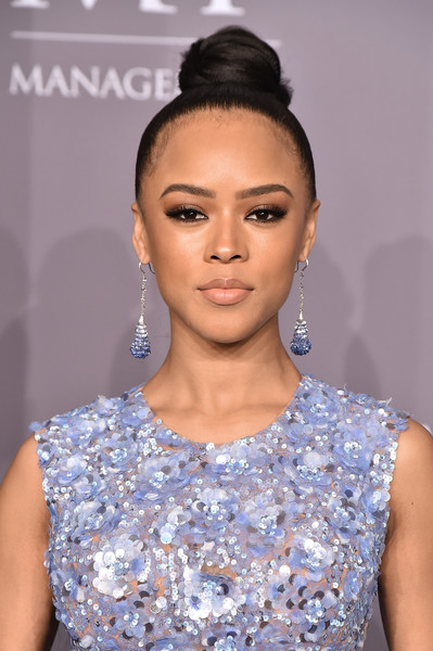Serayah McNeill Classic Bun [hair,face,hairstyle,eyebrow,lip,fashion,beauty,shoulder,bun,skin,arrivals,serayah mcneill,new york,cipriani wall street,amfar gala]