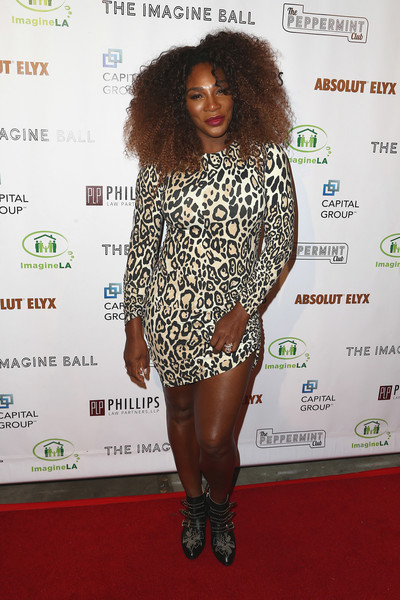 Serena Williams Studded Boots [clothing,red carpet,carpet,fashion,dress,shoulder,thigh,joint,long hair,cocktail dress,john terzian,val vogt,serena williams,serena williams benefiting imagine la,the peppermint club,california,los angeles,imagine ball]