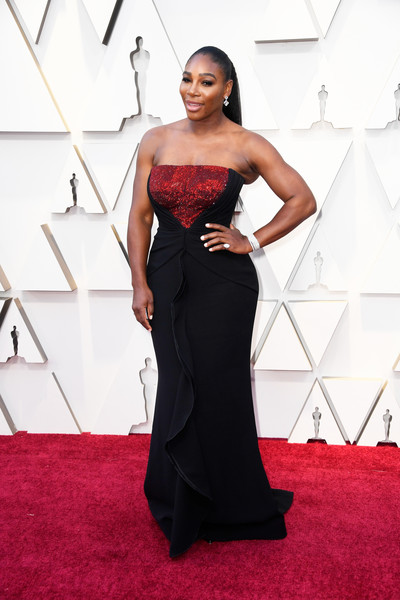 Serena Williams Strapless Dress [dress,red carpet,clothing,gown,carpet,shoulder,fashion model,flooring,strapless dress,fashion,arrivals,serena williams,academy awards,hollywood,highland,california,annual academy awards]
