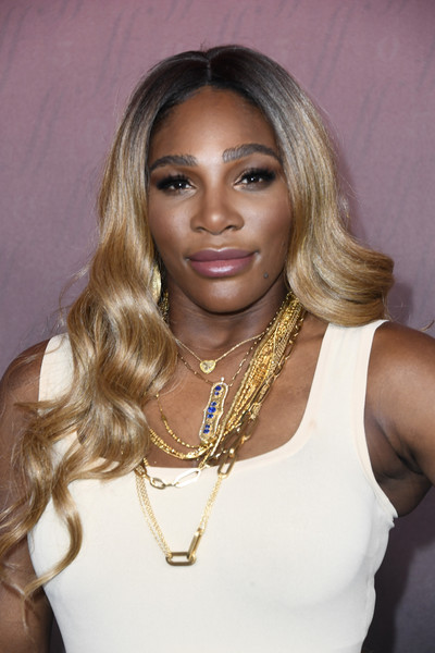 Serena Williams Long Wavy Cut [hair,blond,face,hairstyle,eyebrow,lip,beauty,long hair,lady,hair coloring,arrivals,sports illustrated fashionable 50,serena williams,the sunset room,los angeles,california,sports illustrated]