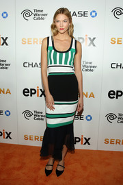 Karlie Kloss was sporty-chic in a striped, ruffle-hem tank dress by Prabal Gurung at the premiere of 'Serena.'