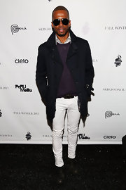 Eric West looked classy and polished with white skinny pants at the Sergio Davila show during Fashion Week.
