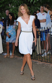 Trinny Woodall added some sparkle to her look with a pair of silver platform sandals.