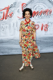 Bianca Jagger wore a colorful print dress to the Serpentine Summer Party 2018.