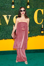 Cara Santana looked sassy at the Veuve Clicquot Polo Classic in a red and white striped tube top with drapes of fabric down the sides.