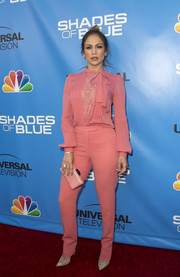 Jennifer Lopez looked uncharacteristically conservative in a long-sleeve pink pussybow blouse by Elie Saab at the Shades of Blue Television Academy event.