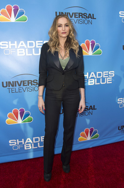 Drea de Matteo opted for a fitted black pantsuit when she attended the Shades of Blue Television Academy event.