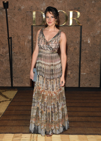 Shailene Woodley Wrap Dress [clothing,dress,fashion,fashion model,gown,fashion design,formal wear,flooring,haute couture,event,s20 cruise collection,shailene woodley,photocall,marrakech,morocco,christian dior couture s]