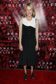 Mamie Gummer was low-key in a black-and-white button-down day dress at the Broadway opening of 'Shakespeare's Romeo and Juliet.'