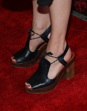 Mamie Gummer kept it casual on the red carpet in a pair of chunky black platform sandals when she attended the Broadway opening of 'Shakespeare's Romeo and Juliet.'