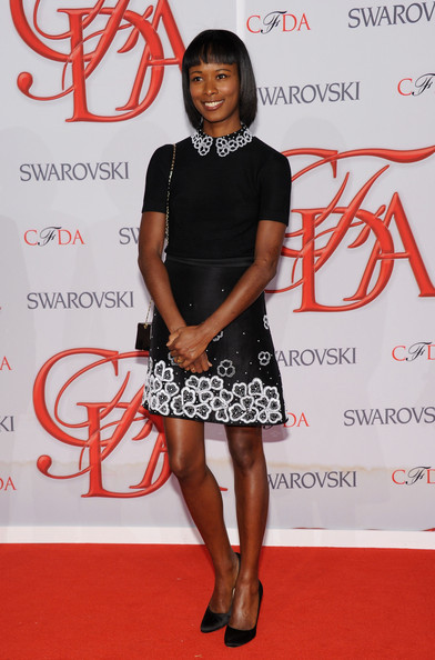Shala Monroque Pumps [clothing,red carpet,red,carpet,fashion,dress,cocktail dress,hairstyle,premiere,footwear,arrivals,shala monroque,alice tully hall,new york city,cfda fashion awards]