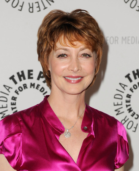 Sharon Lawrence Layered Razor Cut [paley center for media presents ``drop dead diva: season one finale,drop dead diva,hair,hairstyle,eyebrow,chin,blond,brown hair,pixie cut,makeover,bangs,layered hair,sharon lawrence,beverly hills,california,paley center for media,season one finale]