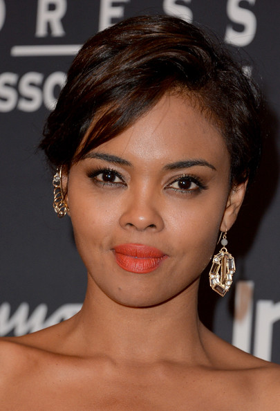 Sharon Leal Short Side Part [hair,face,eyebrow,hairstyle,chin,lip,beauty,skin,eyelash,forehead,instyle party - arrivals,sharon leal,windsor arms hotel,toronto,canada,tiff hfpa,instyle party,toronto international film festival]