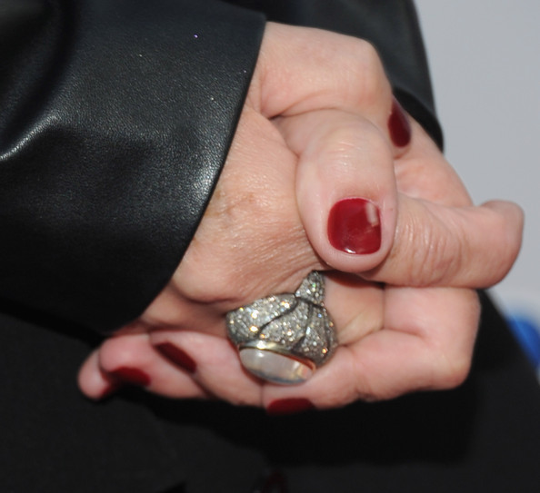Sharon Osbourne Diamond Ring [nail,finger,ring,hand,engagement ring,fashion accessory,silver,jewellery,diamond,thumb,sharon osbourne,california,los angeles,sls hotel,nbc universal,tca 2011 press tour all-star party - arrivals]