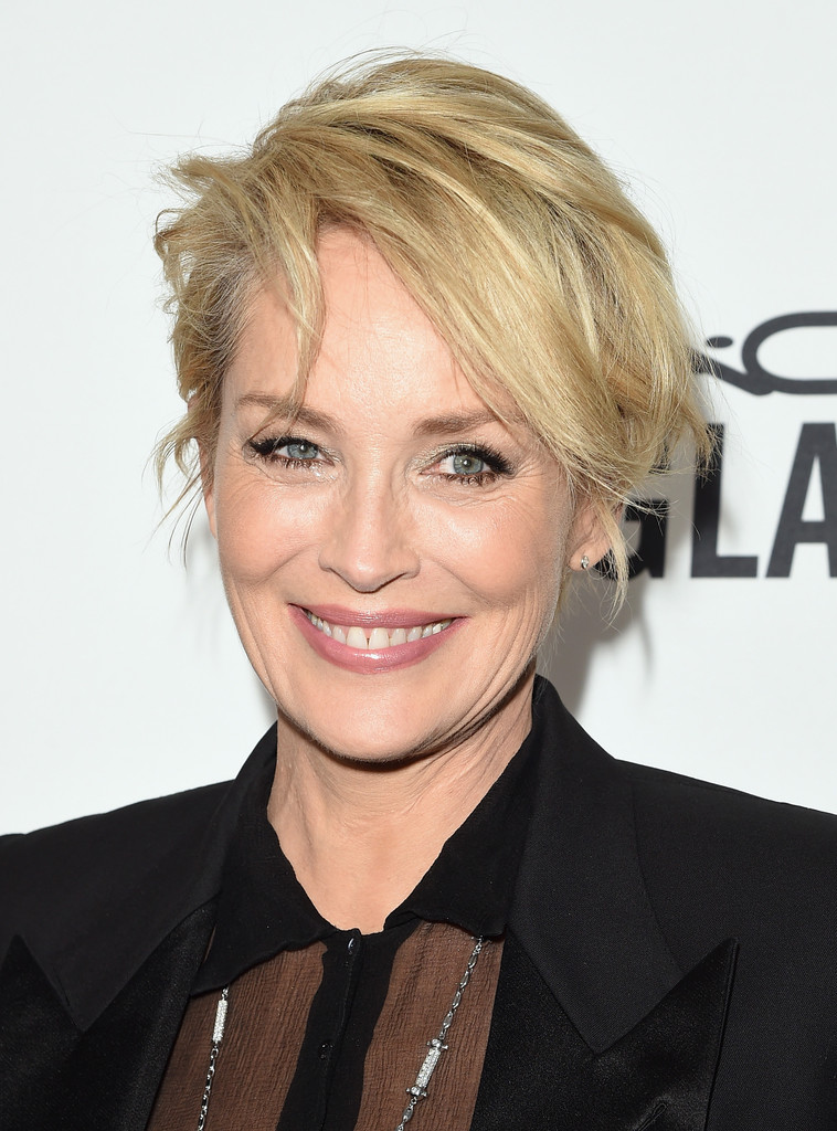Sharon Stone Messy Cut Short Hairstyles Lookbook