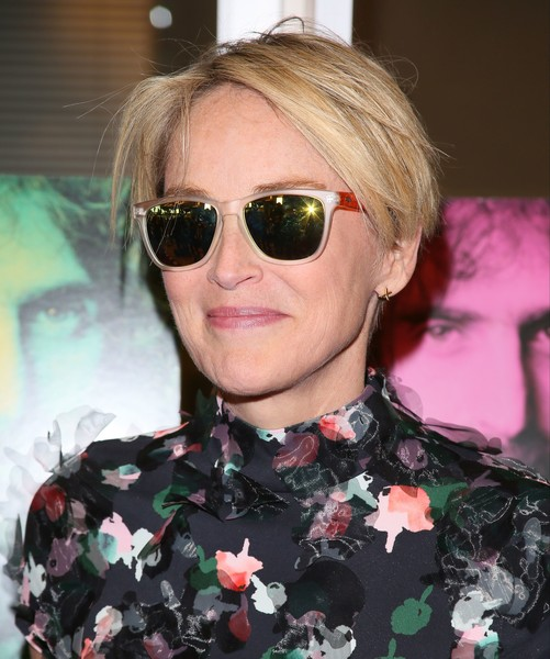 Sharon Stone Messy Cut [eat that question,eyewear,hair,sunglasses,glasses,face,hairstyle,cool,blond,lip,eyebrow,frank zappa,sharon stone,lacroix,jean baptiste,his own words,hollywood,california,afp,premiere]