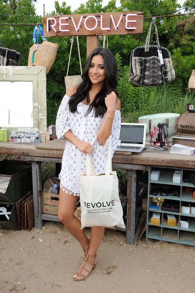 Shay Mitchell Off-the-Shoulder Dress [white,clothing,lady,fashion,dress,shoulder,summer,footwear,photography,leg,shay mitchell,montauk,new york,the surf lodge,revolve pop-up launch party,launch party]