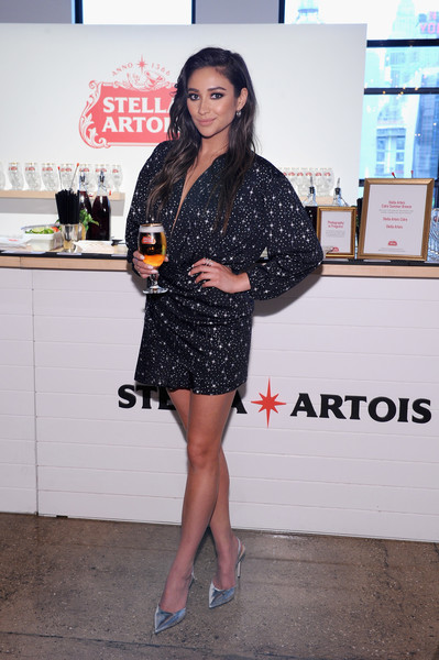 Shay Mitchell Slingbacks [clothing,leg,dress,fashion,little black dress,footwear,cocktail dress,outerwear,thigh,long hair,shay mitchell,stella artois host,stella artois braderie,stella artois,summer,host one to remember,new york city]