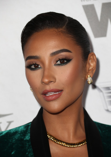 Shay Mitchell Classic Bun [variety and women in film,variety and women in films 2018 pre-emmy celebration,hair,face,eyebrow,hairstyle,lip,forehead,beauty,black hair,chin,cheek,shay mitchell,arrivals,west hollywood,california,cecconi,2018 pre-emmy celebration]