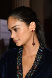 Pia Wurtzbach showed off a lovely pair of gemstone drop earrings by Sherri Hill.