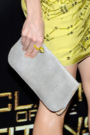SJP showed off this oyster grey clutch while attending ShoWest. The grey color toned down her vibrant colored beaded frock.