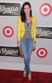 Hilary Rhoda paired her boldly hued ensemble with a cute pair of multi-colored sandals.