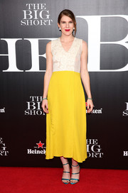 Lily Rabe brightened up the 'Big Short' New York premiere with this Tome dress featuring a white lace bodice and a canary-yellow skirt.