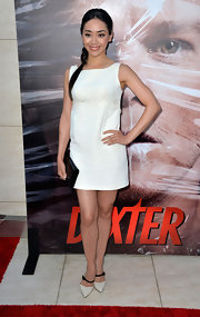 Aimee Garcia wore this classic white sleeveless shift dress to the 'Dexter' celebration in Hollywood.