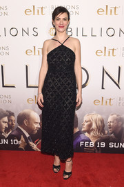 Maggie Siff paired her glamorous dress with strappy black peep-toes by Sarah Flint.